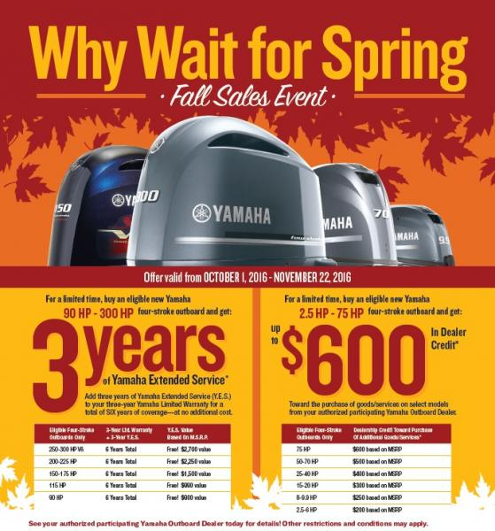 """Yamaha Marine Group """"Why Wait for Spring"""" Sales Event"""